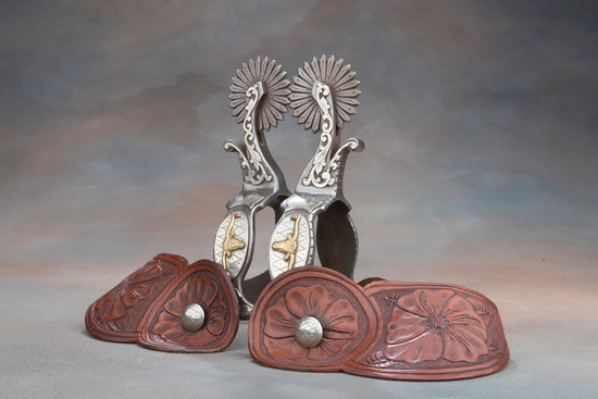 Unique pair of double mounted, hand engraved Spurs by Colorado Bit and Spur Maker Kevin Peebler, wit