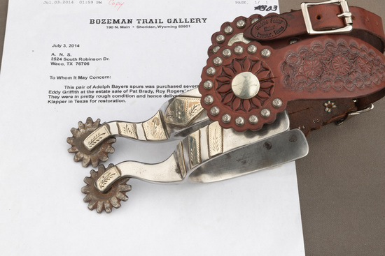 Pair of Bayers double mounted Spurs with letter from William L. King / Bozeman Trail Gallery / Sheri