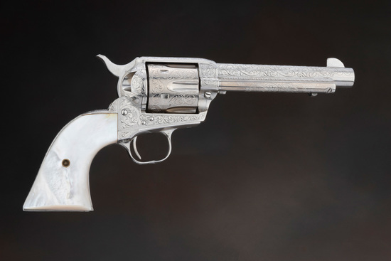 "Beautiful, Helfricht Style, engraved Colt SAA Revolver, .44 SPL caliber with a 5 1/2"" barrel.  This"