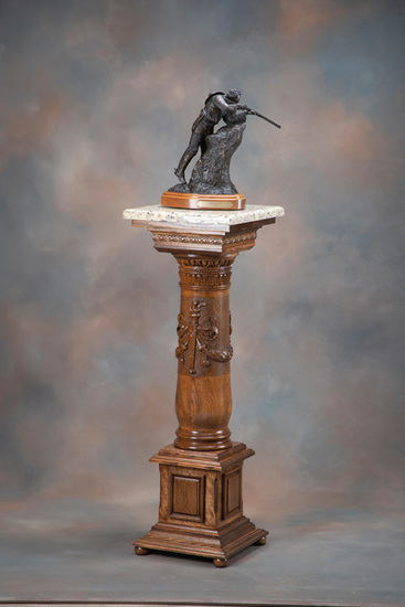 "Beautiful antique oak carved Pedestal, circa 1900, with 15 1/2"" polished granite top, measuring 45"""