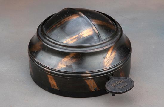 "Rare, antique tin Spittoon Cover, manufactured by ""Delta"", nicknamed ""Eyeball"", 100% original copper"