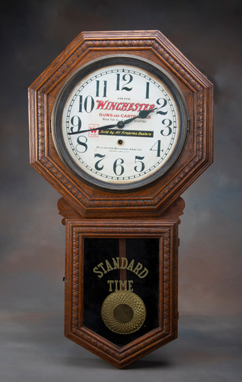 Unique antique oak case, long drop Wall Regulator Clock, manufactured by Sessions Clock Company, For