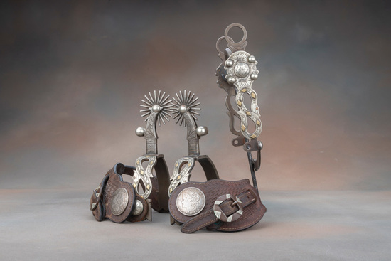 Fancy 3-piece Spur and matching Bit Set by noted West Bountiful, Utah Bit and Spur Makers Lytle & Mo