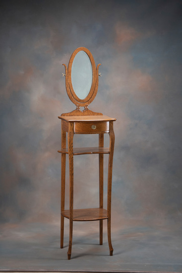 Very unusual, antique quarter sawn oak Shaving Stand with long oval shaving mirror, and shelf design