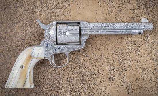 "Antique Colt SAA Revolver, .44-40 caliber, 5 1/2"" barrel, SN 96633, manufactured 1883, ranch brand e"