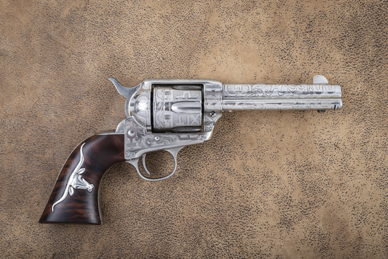 "Beautiful Colt SAA Revolver, .38-40 caliber, 4 3/4"" barrel, SN 244528, manufactured 1903, nickel fin"