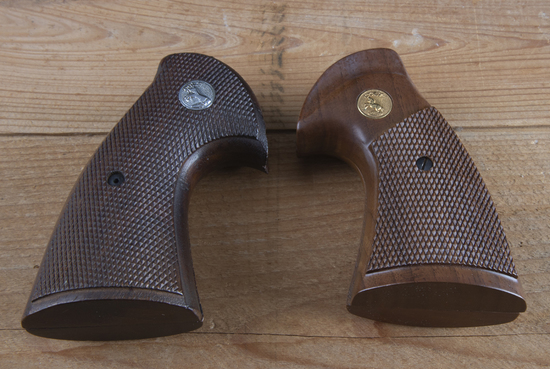 This  consists of two pairs of checkered wooden Grips for a 1st & 2nd Model Python Revolver.  Both p