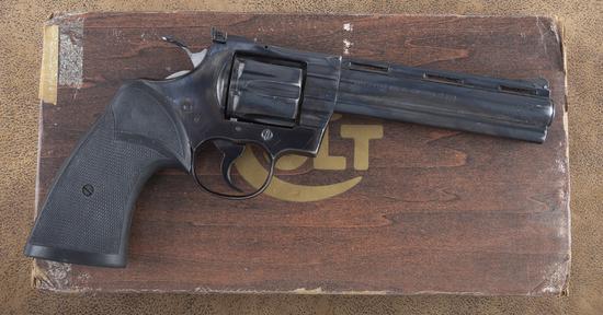"Colt Python, Double Action Revolver, .357 MAG caliber, SN 89918, 6"" barrel, blue finish, retains maj"