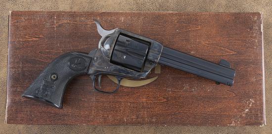 "New In Box, Colt SAA Revolver, .45 caliber, SN SA01189, 4 3/4"" barrel, blue finish, case hardened fr"