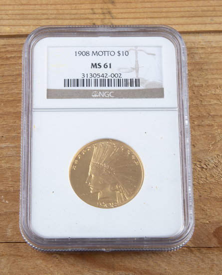 1908 American Indian Head $10.00 Gold Piece, very fine condition.