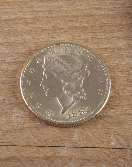 An American Liberty Head $20.00 Gold Piece, dated 1882, very good condition.