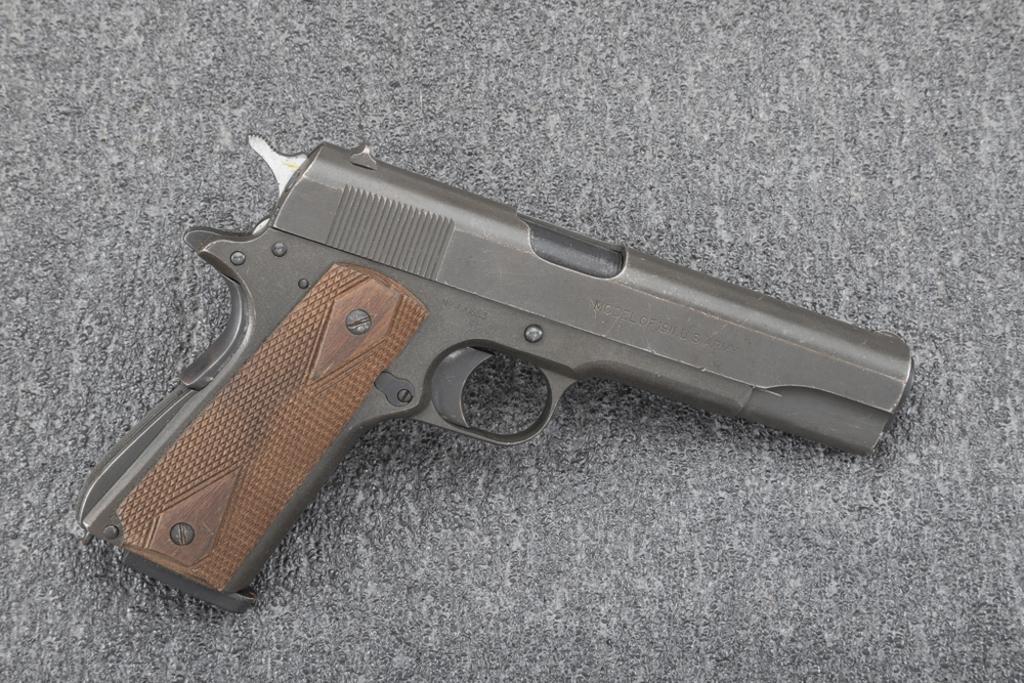 """U.S."" marked Colt, Model 1911, .45 caliber Auto Pistol, SN 490653, 5"" barrel, blue finish, showing"