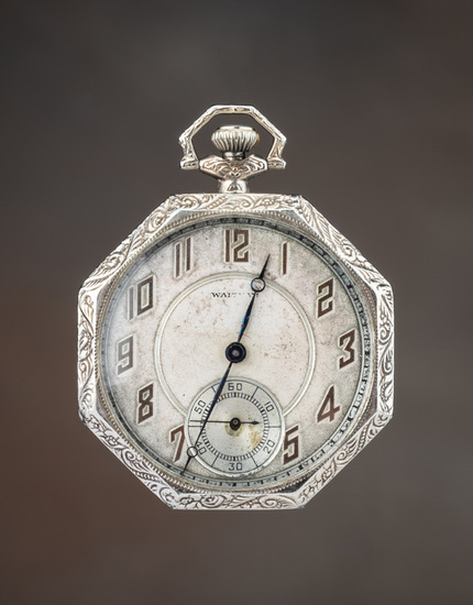 Historical, engraved Man's Open Face Pocket Watch with documentation it was once owned by Hollywood