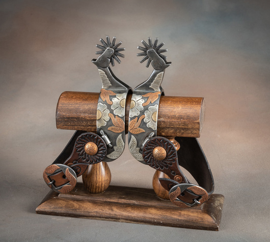 Pair of outstanding single mounted horsehead Spurs by noted Colorado ,Arizona Bit and Spur Maker J.D