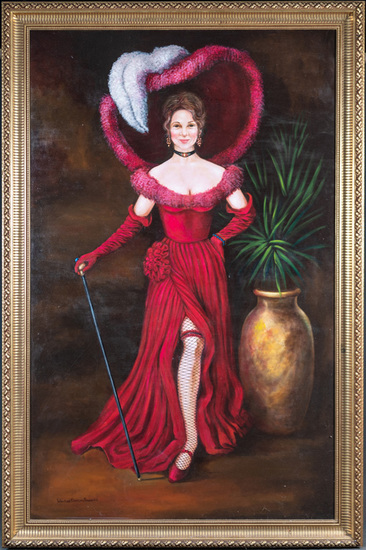 """Unique large oil on canvas painting of the famous """"Gussie Lee"""", by Texas artist Winifred Barnum-Newm"""