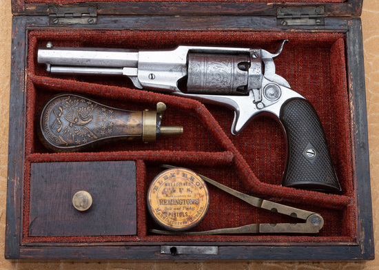 Antique cased Remington-Beals, 3rd Model Pocket Revolver, SN 75, which can be found under the lever.