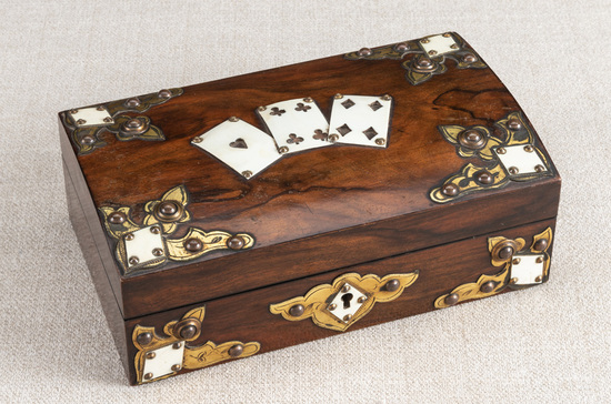 """Early Rosewood and ivory trimmed, dome top Gamblers Case, 8 3 ,4"""" wide x 5 1 ,4"""" deep with ivory car"""