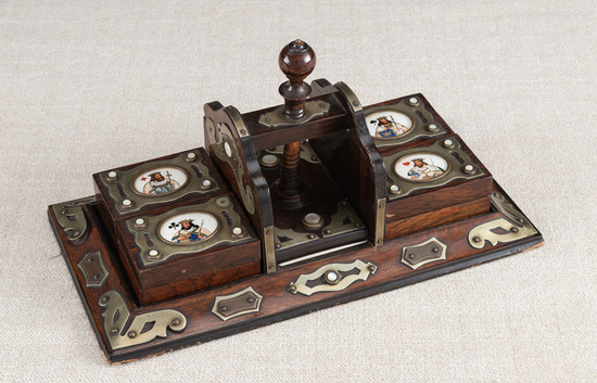 Unique , early Rosewood Card Press, with silver trim and small mother of pearl buttons, four separat