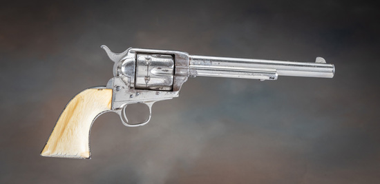 Attractive antique Colt, SAA Revolver, etched panel, .44 ,40 caliber, ivory stocks.  This 6-shot rev