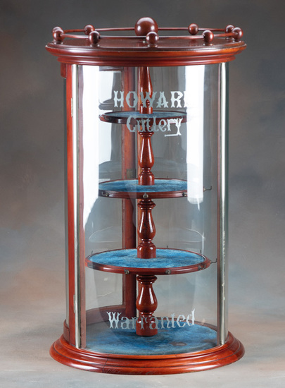 """Antique revolving, curved glass, counter top Display Case, manufactured by """"C.B. Barker and Co., Cut"""
