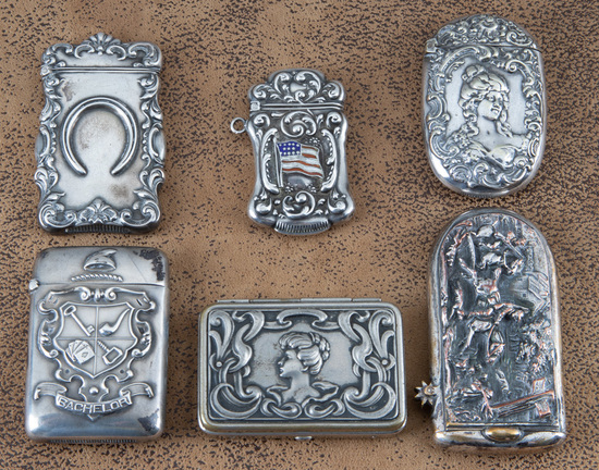 """Collection of six vintage Match Safes, three are marked """"Sterling"""", one is coin silver, the others a"""