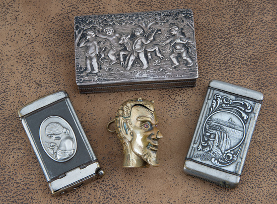 Collection of three unusual Match Safes & one Snuff Box.  Two Match Safes are silver over brass, one