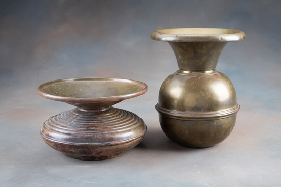 """Two antique Brass Spittoons.  One is 6 1/2"""" tall x 10 3/4"""" across top.  The other is a no spill mode"""
