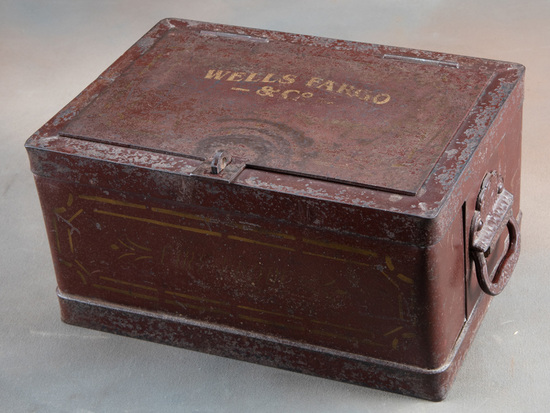 """Heavy iron """"WELLS FARGO & COMPANY"""" marked Strong Box with embossed double handles, 6 1/2"""" tall x 13"""""""