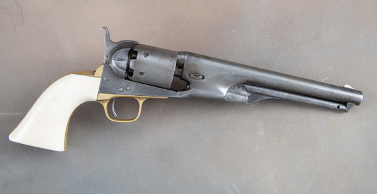 Early antique Colt, 1861 Navy Revolver with ivory stocks.  SN 7206 matches on the barrel, frame, tri