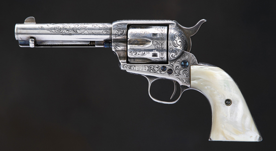 Texas shipped, beautifully engraved Colt SAA Revolver, SN 131267.  This is a 6-shot, .38 Colt with N