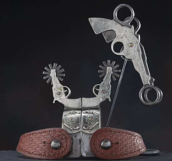 Three piece matching Bit and Spur Set in the very desirable Pistol Pattern by the late Texas Bit and