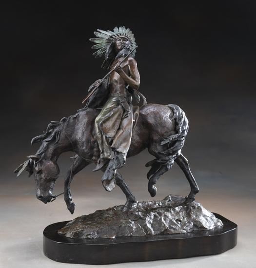 Original Bronze Sculpture by noted late Arizona Artist Daro Flood (1954-2017), (#25/30).  Flood was