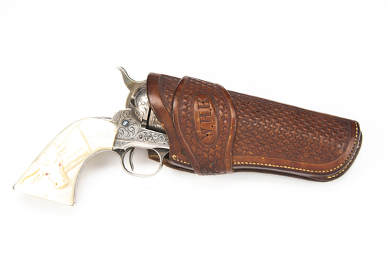 """Fine quality leather, basket weave Holster for a Colt SAA Revolver, 4 3/4"""" barrel, with single loop"""
