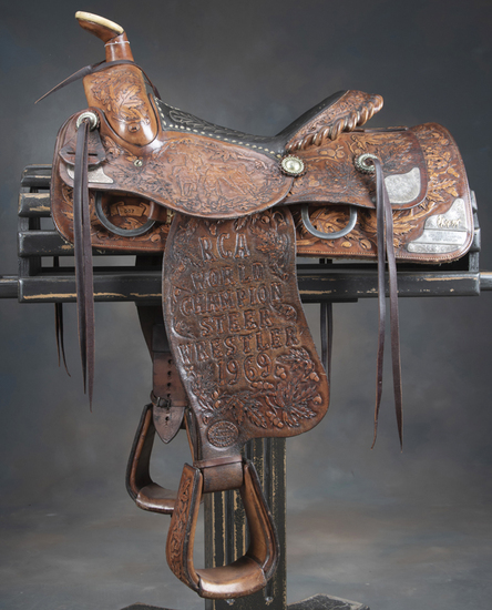 Presentation Saddle once belonging to 1969 RCA World Champion Steer Wrestler Roy Duvall, Boynton, Ok