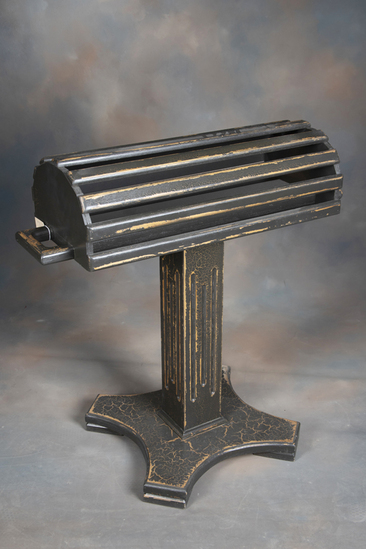 """Custom made, antique style wooden Saddle Stand with reeded column and double handles, 39"""" T x 32"""" L"""