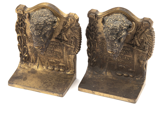 """A pair of early signed """"Bradley & Hubbard"""" cast iron Buffalo Book Ends, with original gold wash fini"""