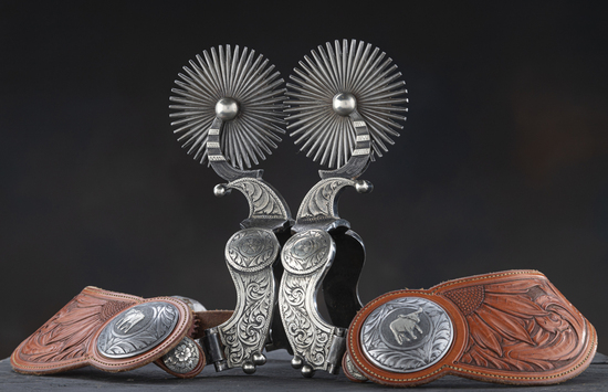 Very showy pair of double mounted, hand engraved, silver overlay Spurs by noted West Bountiful, Utah