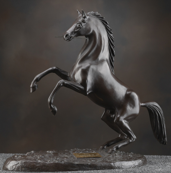 "Bronze Sculpture of the ""Rampant Colt"", #93 / 100, 20"" L x 9"" across x 20 3/4"" T, with removable spe"