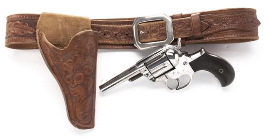 """Colt Revolver, Model 1877, Thunderer, .41 caliber, SN 84094, 3 1/2"""" barrel with Carved Holster & Bel"""