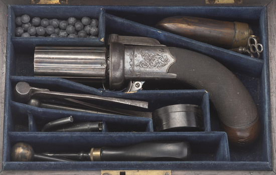 Cased Percussion Pepperbox by J.M. Cooper.  This is a .31 caliber, 6-shot, revolving Pepperbox.  It