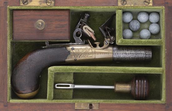 Cased, Engraved Flintlock Derringer, small size, .50 caliber, single shot derringer with approximate