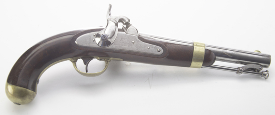 """Single Shot Percussion Pistol, Model 1842 'H. ASTON�, dated 1852.  This """"Martial"""" marked cap"
