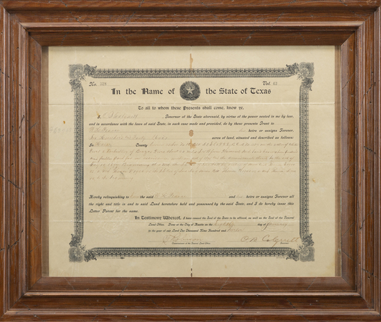 Framed Document signed by the Governor of Texas, O.B. Colquitt, granting 640 acres to William Huston