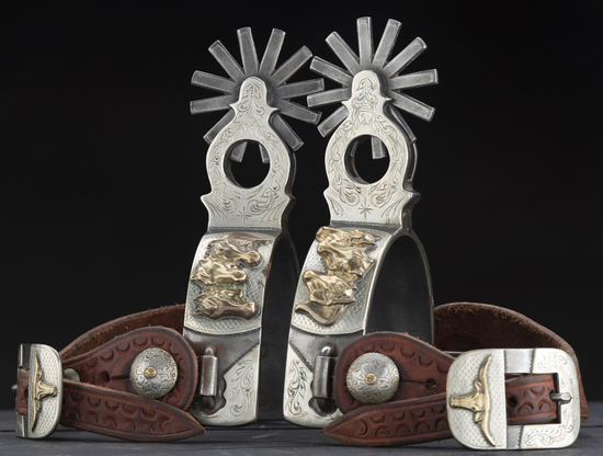 Outstanding pair of double mounted Spurs, #2266, by noted Bit and Spur Maker, the late R.F. Ford.  C