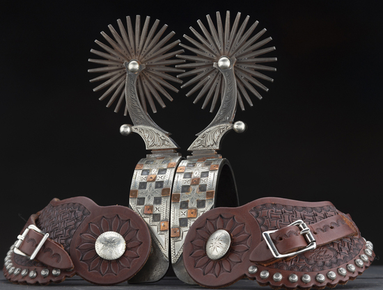 Outstanding pair of showy double mounted Spurs by West Bountiful, Utah Bit and Spur Makers Lytle & M