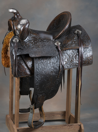 "Heavily tooled and sterling mounted Brown Saddle marked ""Edw. H. Bohlin, Inc., Maker / Hollywood, CA"