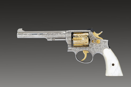 "Striking Smith & Wesson, K-22 Masterpiece, 3rd Model, Revolver, .22 LR caliber, SN 01947, 6"" barrel."