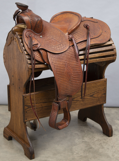 Fantastic, brown basket weave Saddle by noted California Leathersmith and Saddle Maker F.O. Baird in