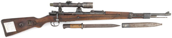 German Mauser (Sniper Gun), Model 98, Bolt Action Rifle, two piece stock, German Eagle on receiver,