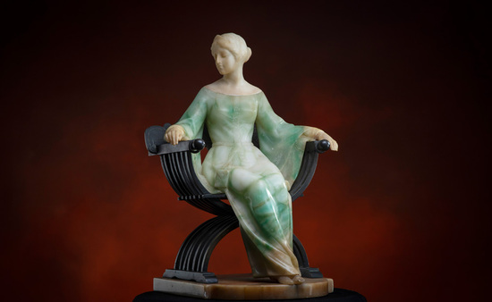 Museum quality onyx and bronze Statue, circa 1900, of elegant lady seated i